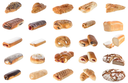 Collage of different pastries and bakery items, isolated on white.