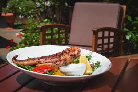 Pulpo cocido. grilled octopus and vegetables on a wooden table, terrace. seafood, Fish dish. Fresh food. Close up Stock Photo