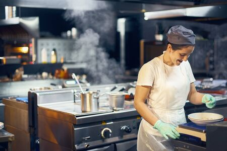 Woman cook at work in a modern kitchen, kitchen workflow in a kitchen., Copy space for text