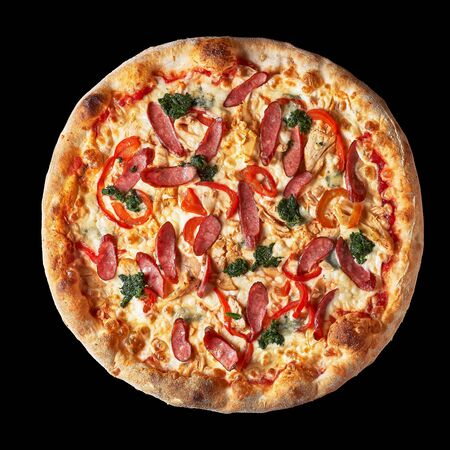 Pizza menu. Delicious hot pizza Mario with chicken, sausage and cheese. Delicious traditional Italian pizza on an isolated black background. Top view