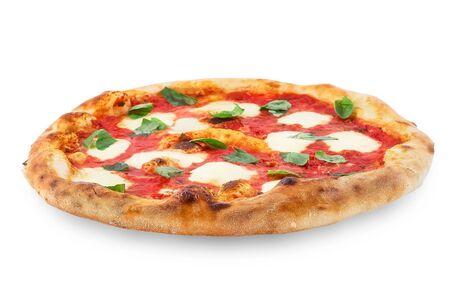 Pizza Margherita on black background. Classic Italian Pizza Margarita with Tomato sause, Basil and Mozzarella Cheese background. Stock Photo