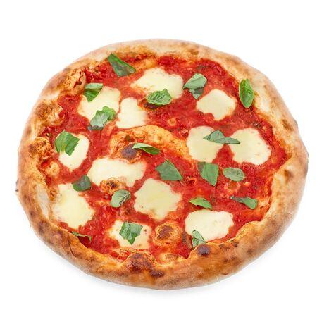 Top view of Pizza Margherita on black background. Classic Italian Pizza Margarita with Tomato sause, Basil and Mozzarella Cheese background. Pizza menu. Stock Photo