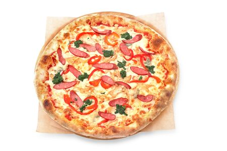 Pizza menu. Delicious hot pizza Mario with chicken, sausage and cheese. Delicious traditional Italian pizza on an isolated White background.