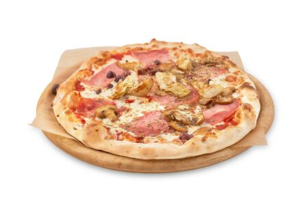 Fresh Italian pizza with , pastrami, ham, mushrooms and isolated an on isolated white background. Stock Photo
