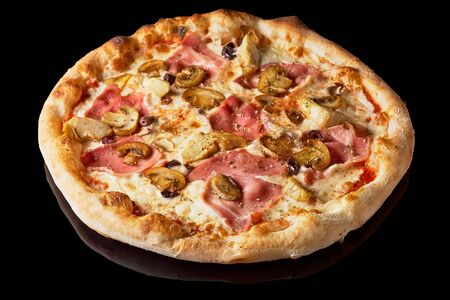 Fresh Italian pizza with , pastrami, ham, mushrooms restaurant menu, isolated an on isolated black background.
