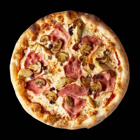 Fresh Italian pizza with , pastrami, ham, mushrooms restaurant menu, isolated an on isolated black background. Top view Stock Photo