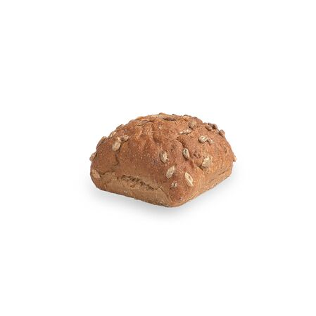 bun with seeds isolated on white background. dough with seeds, selective focus.