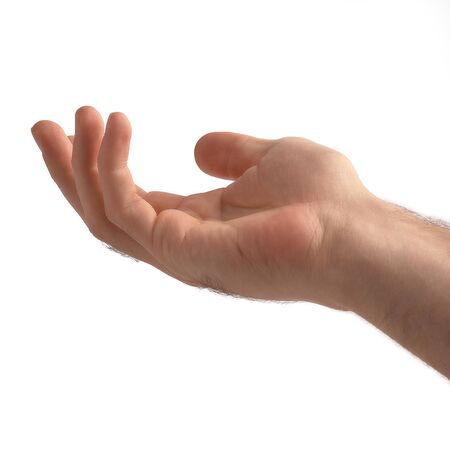 Hand open and ready to help or receive. Gesture isolated on white background with clipping path. Helping hand outstretched for salvation. Stockfoto
