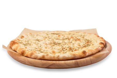 Crispy focaccia with rosemary on Wooden Plate. Fresh Italian Traditional Flat Bread Isolated on White Background