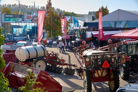 Chisinau, Moldova, October 22, 2019. Agricultural machinery with visitors at the exhibition Chisinau Moldova Editoriali