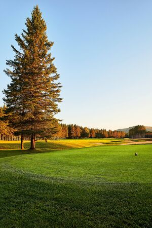 Sunset at the Golf Course - The sun sets on a putting green at the golf course in Autumn in Canada, Montremblan.