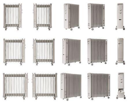 Collage di foto, riscaldatore a olio elettrico riempito di liquido per uso domestico isolato su bianco, diverso numero di sezioni nei radiatori.