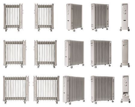 Photo collage, Electric liquid-filled oil heater for home use isolated on white, different number of sections in radiators.