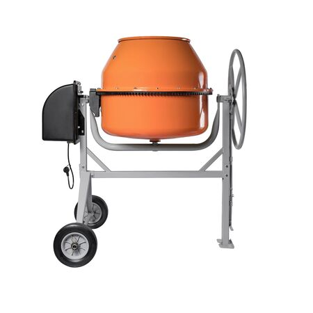 Orange concrete mixer isolated on the white background. Shooting for the catalog. Banque d'images - 137877544