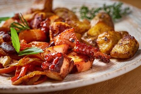 grilled octopus dish with small potatoes and vegetable salad. close up slices of fried octopus on a plate, Macro Appetizer