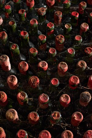 Old wine cellar with many glass bottles and rustic of rural storage of winery or restaurant. Useful as a background Standard-Bild