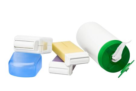 Set for epilation on white background. Cartridges with wax for hair removing. no label.