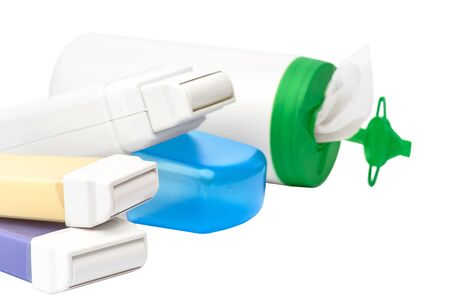 Set for epilation on white background. Cartridges with wax for hair removing. no label, close up