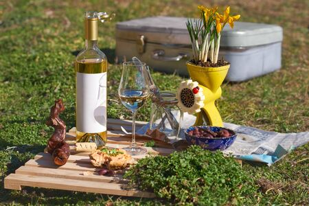 wine tasting outdoors. wine glass and bottle with blank etiquette for mockup, cheese. winemakers concept, wine production