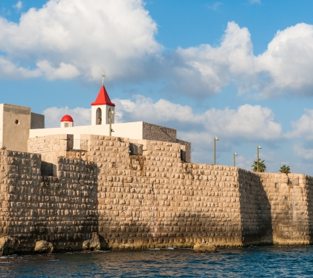 acre: St  John church in Acre  Akko  Israel as seen from the sea