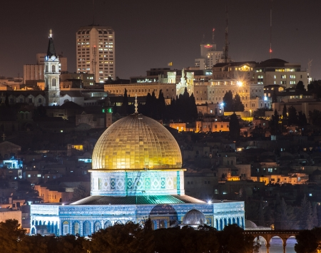 al aqsa: Night scenery with the Dome of the Rock  Masjid Qubbat As-Sakhrah