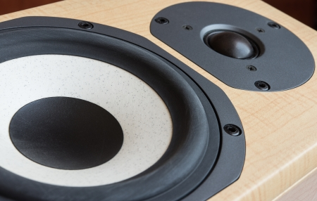 stereo subwoofer: Closeup of mid-range and tweeter drivers of a Hi-Fi loudspeaker Stock Photo