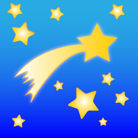 comet: Illustration of comet and stars on the white background