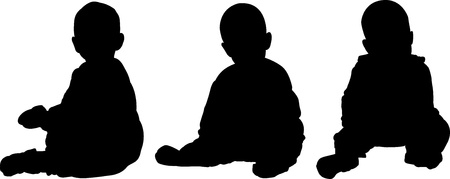 seated: Vector illustration of three silhouettes of seated baby Stock Photo