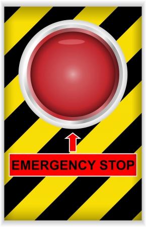 emergencia: Vector ilustraci�n de un bot�n de parada de emergencia Foto de archivo