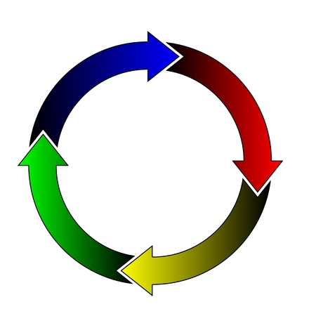 arrow circle: Vector illustration of color arrows in the circle Stock Photo