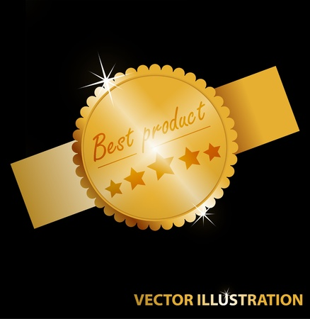 Vector illustration of label for web - Best product  Gold color Stock Illustration - 12763969