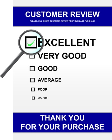 magnyfying glass: Vector illustration of customer review form Stock Photo