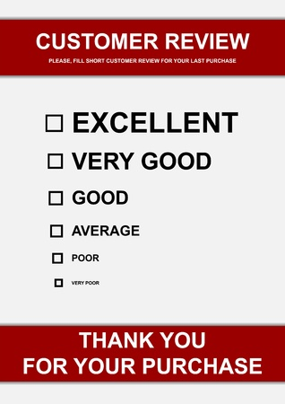 opinion poll: Vector illustration of customer review form Stock Photo