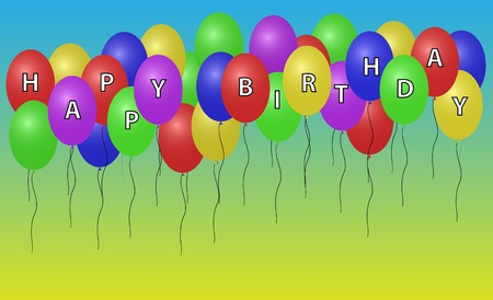 Vector illustration og happy birthday balloons  Background in separate layer  illustration
