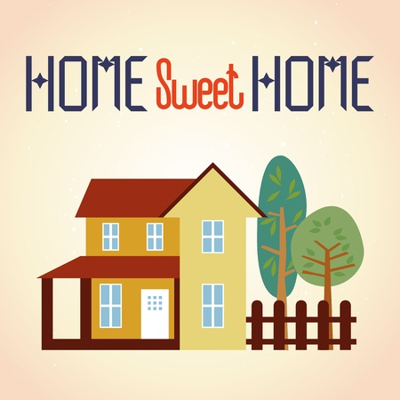 home sweet home: Vector illustration of home and garden  Grunge background in separate layer