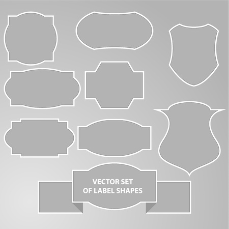 Vector illustration of label shapes in grey color  Background in separate layer illustration