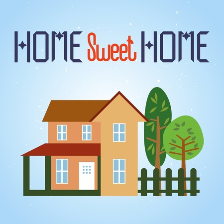 Vector illustration of home and garden  Grunge background in separate layer  illustration