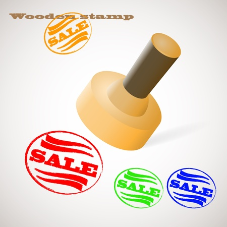 stamper: Vector illustration of wooden stamp with word sale  Background and description are in separate layers