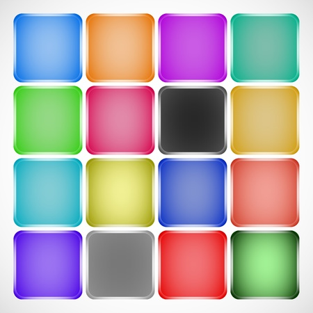 chamfer: Set of colored squared buttons with highlights on chamfers  Stock Photo