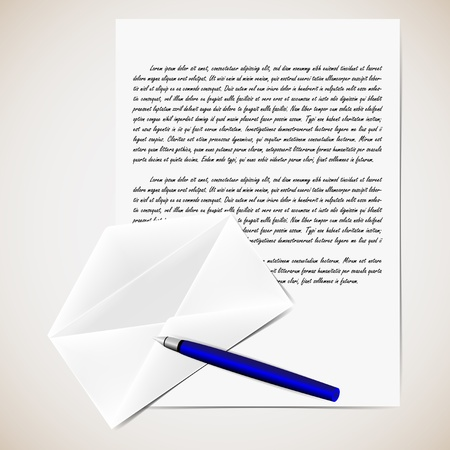 writing a letter: illustration of letter with opened envelope and pen  Background in separate layer