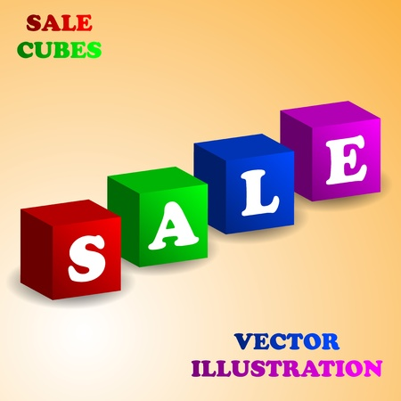 Abstract background with cubes - SALE photo