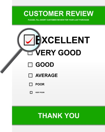 customer survey: Vector illustration of customer review form with magnifying glass Stock Photo