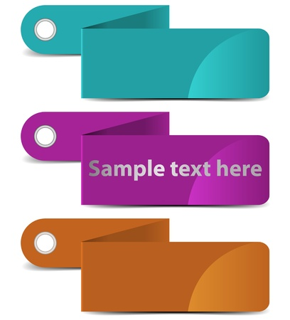 Vector illustration of folded labels with shadows  Layered document  illustration