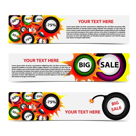 discount banner: Set of horizontal sale banners with shadow  Place for customer text in separate layer