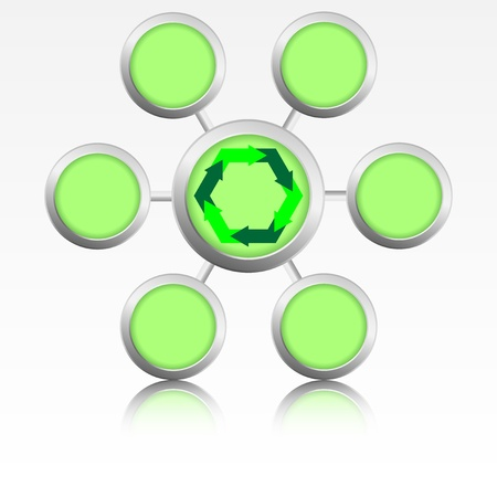 reflexion: illustration of green rounded logo with arrows inside and reflexion  Stock Photo