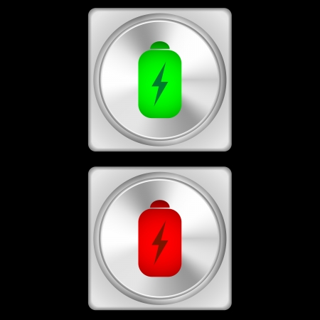 illustration of battery health buttons in two stages - green and red  illustration