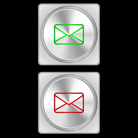 illustration of mail buttons in two stages - green and red  illustration