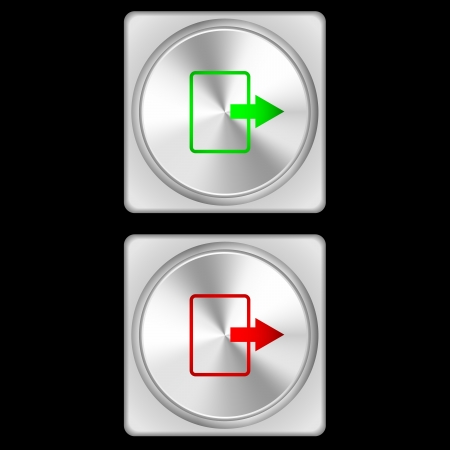 illustration of upload buttons in two stages - green and red  illustration