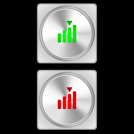 illustration of signal strength buttons in two stages - green and red  illustration