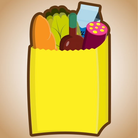 illustration of grocery bag Imagens